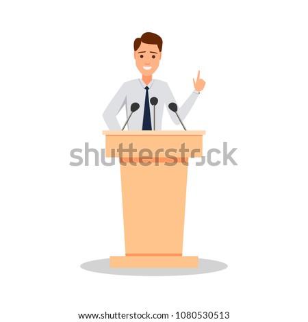 Orator speaking from tribune. Public speaker character vector Illustration. Business man speaking speach.