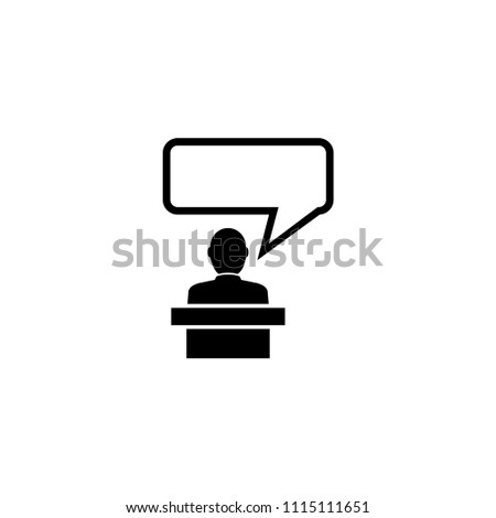 Orator Speaking from Tribune, Speaker. Flat Vector Icon illustration. Simple black symbol on white background. Orator Speaking from Tribune, Speaker sign design template for web and mobile UI element