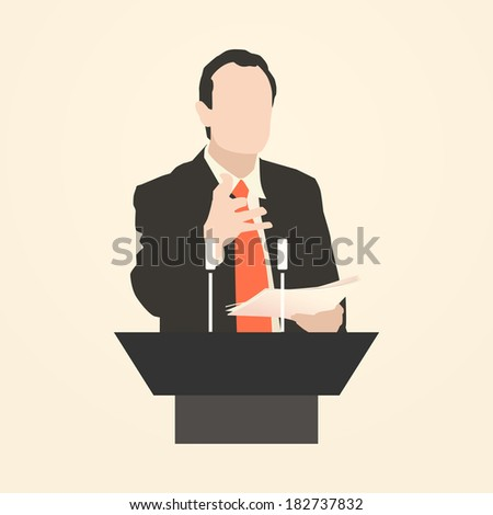 Orator stands behind a podium with microphonesSpeaker makes a report to the public Presentation and performance before an audience Rhetoric Oratory lecturer business seminar Vector Icon
