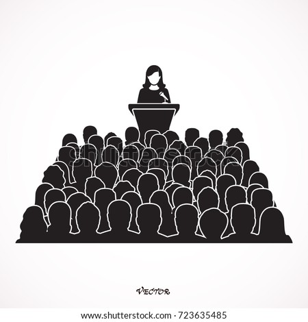 orator woman, speaking from the tribune. public speaker and a crowd, vector illustration in the flat style