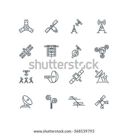 Orbit communication satellite vector line icons. Technology signal on space, connection and telecommunication orbit illustration