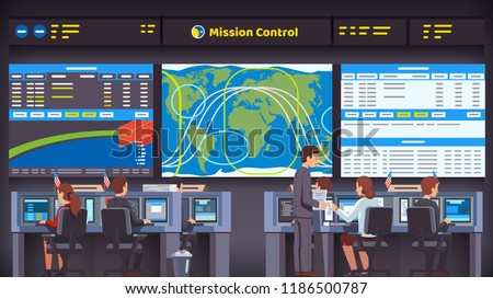 Orbital space flight mission control center room interior. Engineers people working at their desks & computers overseeing rocket launch, flight and landing. Flat style vector illustration