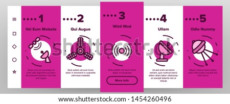 Orbital Sputnik Linear Vector Onboarding Mobile App Page Screen. Sputnik Thin Line Contour Symbols. Cosmos Exploration, Astronautics. Satellite Dish, Space Shuttle, Radar Tower Illustrations