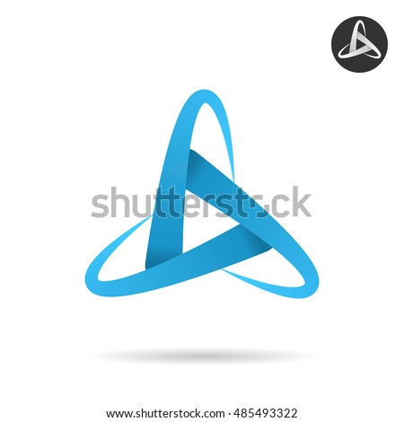 Orbits form letter d, space concept illustration, 2d vector icon isolated on white background, eps 10