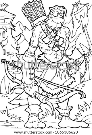 orc archer  coloring page  a4