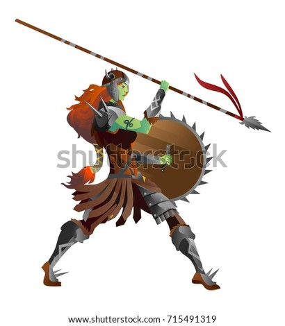 orc female with spear