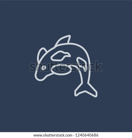 Orca icon. Trendy flat vector line Orca icon on dark blue background from animals  collection.