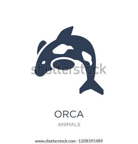 Orca icon. Trendy flat vector Orca icon on white background from animals collection, vector illustration can be use for web and mobile, eps10