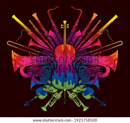 Orchestra Instruments Set Designed Using Colorful Brush Cartoon Graphic Vector  Stockfoto ©