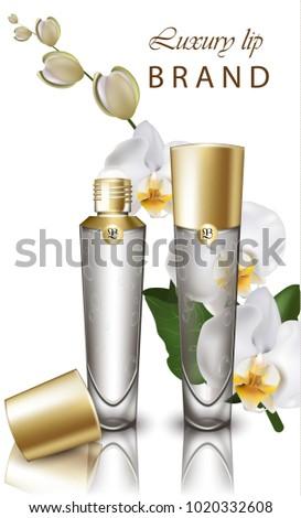 orchid flower lipstick mock up