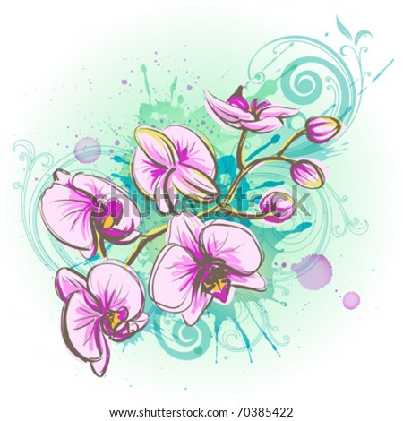 Orchid flower on a watercolor background