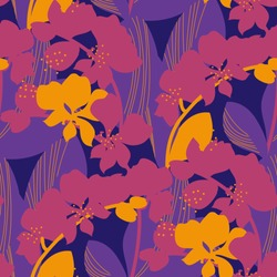 Orchid flower silhouette seamless pattern in bright retro 60s colors. Repeatable motif of tropical floral natural elements for textile, fabric, surface design. Colorful vector illustration.