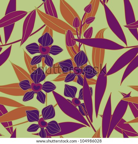 Orchid  seamless vector pattern