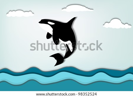 Orcinus orca Killer whale jumping high, eps10 vector