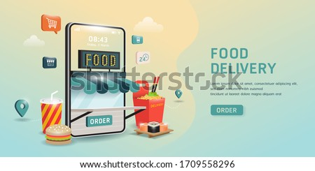 order food on a smartphone. grocery online from app by mobile. E-commerce concept. Online food order infographic.