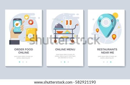 Order food on line banners, mobile application design, vector illustration