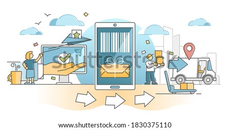 Order fulfillment center packaging and distribution cycle outline concept. Order delivery service work vector illustration. Products shipping from stock inventory to customer hands with fast express. Stock photo ©