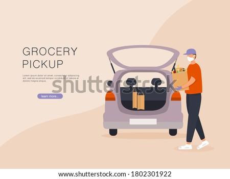 Order groceries online. Pick up point in food supermarket. Safe shopping. Stock photo ©