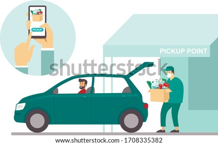 Order groceries online. Pick up point in food supermarket. Safe shopping during coronavirus COVID-19 quarantine. Flat vector concept Stock photo ©