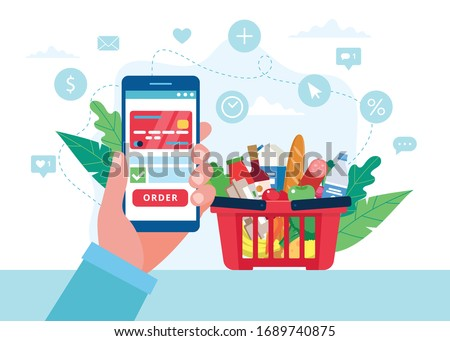 Order grocery online. Order with smartphone and pay with credit card. Cart with different groceries. Vector illustration in flat style