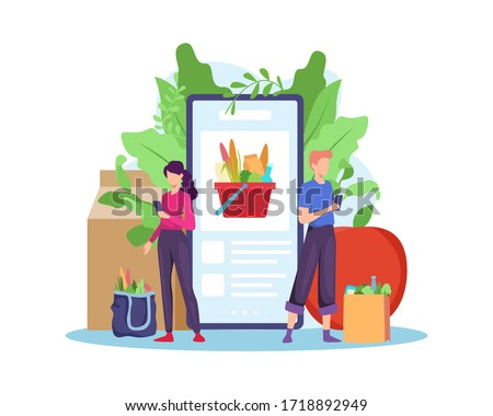 Order grocery online. Order with smartphone, shopping online concept. People buying grocery food products in mobile app. Order and Delivery in Online Supermarket. Vector illustration in flat style