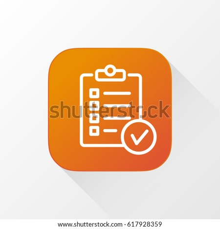 Order List application for mobile phone. Line flat vector icon, button and website design. Illustration isolated on white background. EPS 10 design, logo, app, infographic.