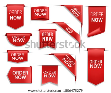 Order now red banners, realistic vector ribbons, web design elements. Corners, flags or isolated bookmarks. 3d icons or labels, discount silk promo event banners, shopping order tags and badges set