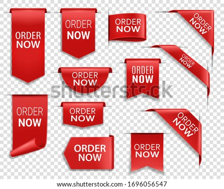 Order now red ribbons, online shopping web banners. Order now icons of corner bookmarks, tags, flags and curved ribbons of red silk