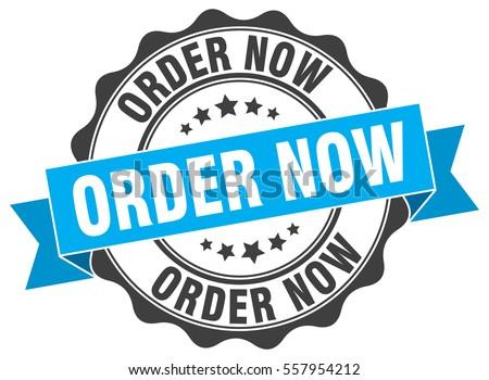 order now. stamp. sticker. seal. round grunge vintage ribbon order now sign