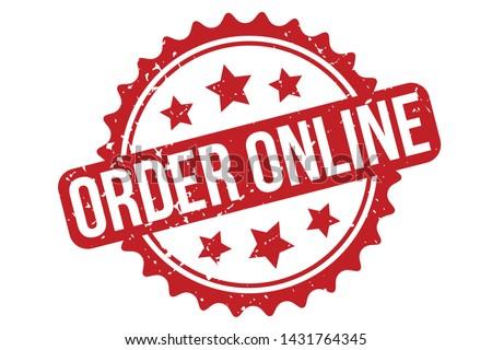 Order Online Rubber Stamp. Order Online Rubber Grunge Stamp Seal Vector Illustration - Vector