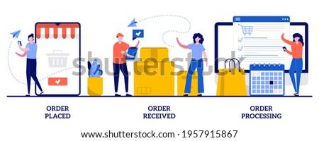 Order placed, received and processing concept with tiny people. E-commerce shopping vector illustration set. Online booking, customer service, warehouse software, virtual purchase metaphor.