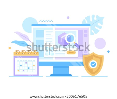 Order tracking, parcel tracking. Vector illustration. Delivery, check package location, shipping, track package, search order concepts