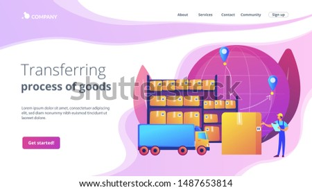 Order worldwide delivery service. Storehouse products storage. Transit warehouse, bonded warehouse, transferring process of goods concept. Website homepage landing web page template.