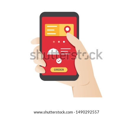Ordering food using online mobile application. Hand holding phone with mobile app order food online website. Fast food delivery service, Ordering take away food online on a smartphone