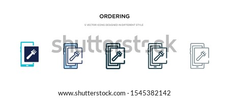 ordering icon in different style vector illustration. two colored and black ordering vector icons designed in filled, outline, line and stroke style can be used for web, mobile, ui