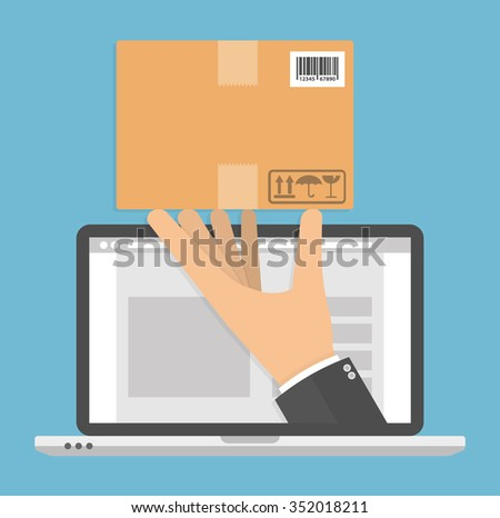 Ordering online and delivery concept. Hand holding cardboard package on a laptop screen. Flat style