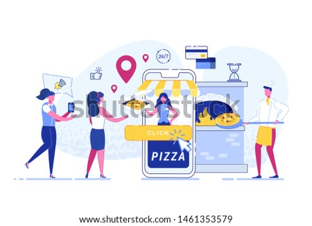 Ordering Pizza, Concept. Food delivery service. Mobile application. Young male courier with pizza box.The cook prepares pizza by spinning the dough. Flat vector illustrations.