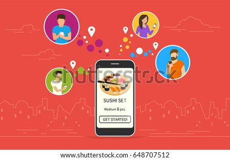 Ordering sushi concept design. Flat vector illustration of young men and women in circle icons using smartphone mobile app for ordering tasty japaneese sushi set via application. Online food banner