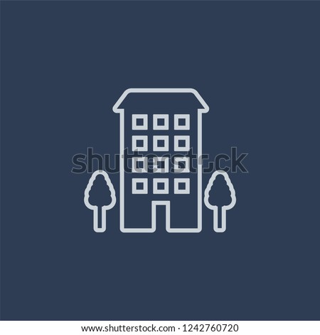Ordinary residence icon. Trendy flat vector line Ordinary residence icon on dark blue background from business   collection.