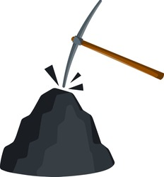 Ore mining. Pick and stone. Pile of minerals. Mining industry. Cartoon flat illustration. Miner tool