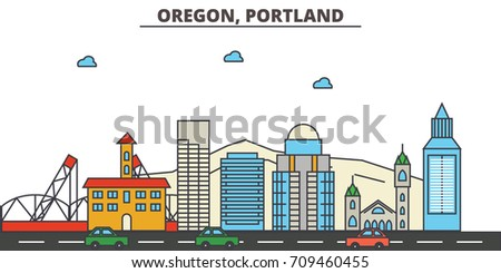 Oregon, Portland.City skyline: architecture, buildings, streets, silhouette, landscape, panorama, landmarks, icons. Editable strokes. Flat design line vector illustration concept.