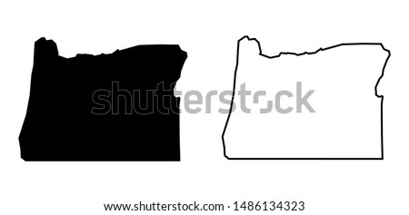Oregon State - USA Blank Map Vector Template Silhouette Black Color and Outline Isolated on White Background Photo stock ©