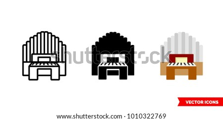 Organ icon of 3 types: color, black and white, outline. Isolated vector sign symbol.