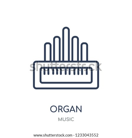 Organ icon. Organ linear symbol design from music collection. Simple outline element vector illustration on white background