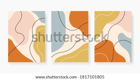 Organic abstract shapes. Pastel colored random paint stains collage. Trendy minimal design with fluid bubble, modern vector posters. Creative chaotic painted elements set illustration Stock fotó ©