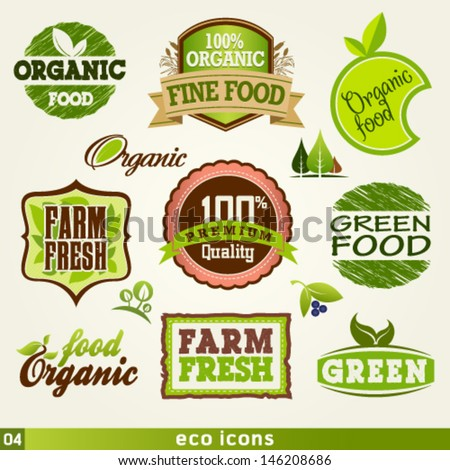 Organic and farm fresh food labels and Vector Elements set. Graphic Design Editable For Your Design.