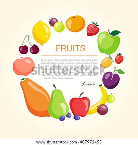 Organic and fresh fruits template background. Vector illustration.