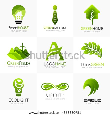 organic and green logo template