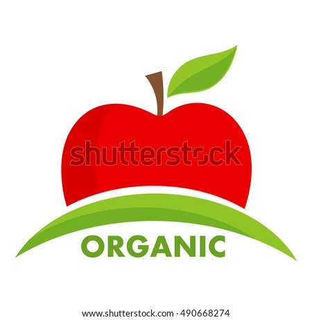 organic apple logo or icon