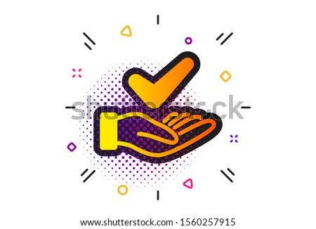 Organic approved sign. Halftone circles pattern. Dermatologically tested icon. No synthetic symbol. Classic flat dermatologically tested icon. Vector